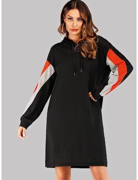 Drop Shoulder Cut And Sew Drawstring Hoodie Dress by Sheinside