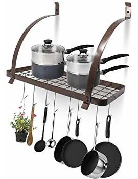 Sorbus Kitchen Wall Pot Rack With Hooks — Decorative Wall Mounted Storage Rack — Multi Purpose Shelf Organizer Great For Kitchen Cookware, Utensils, Pans, Books, Household Items, Bathroom (Bronze) by Sorbus