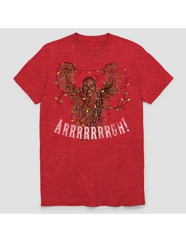 Men's Star Wars Chewbacca Ugly Holiday Short Sleeve T Shirt   Scarlet Heather by Star Wars