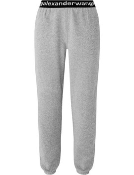 Intarsia Trimmed Stretch Cotton Blend Corduroy Tapered Track Pants by T By Alexander Wang