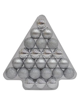 24ct 40mm Ornament Set Silver   Wondershop™ by Wondershop