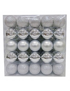 50ct Ornament Set 70mm Silver   Wondershop™ by Wondershop