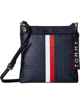 Roma North/South Crossbody Square Mono Coated Canvas by Tommy Hilfiger