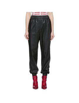 Black Faux Leather Lounge Pants by Msgm