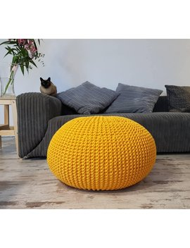 Knitted Pouf   Colours, Yellow, Seat, Crochet Pouf, Ottoman, Footstool by Etsy