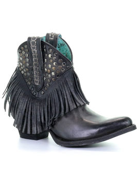 Corral Women's Fringe And Studded Western Boots   Snip Toe by Corral