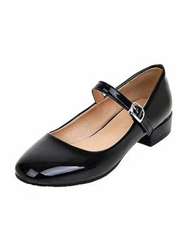 Agodor Women's Flat Ankle Strap Mary Janes Work Shoes Patent Leather Casual Ballet Flats Shoes by Agodor