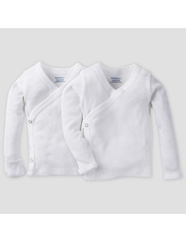 Gerber Baby's Organic Cotton 2pk Long Sleeve Side Snap Shirt With Mitten Cuff   White 0/3 M by Gerber