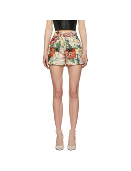Multicolor Lurex Peonies Shorts by Dolce & Gabbana