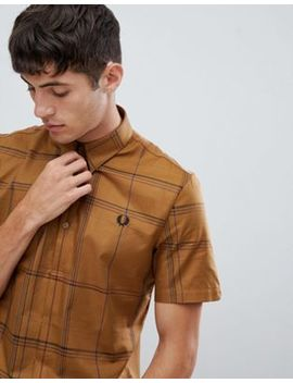 Fred Perry Grid Check Jersey Back Short Sleeve Shirt In Camel by Fred Perry