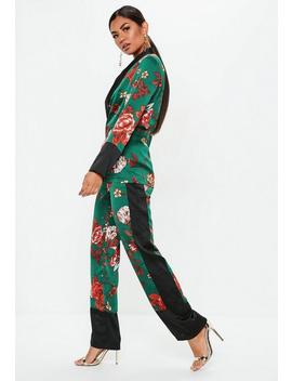 Tall Green Satin Side Stripe Floral Wide Leg Pants by Missguided
