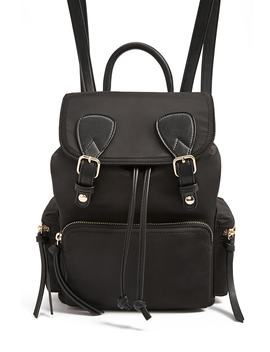 Faux Leather Trim Backpack by Forever 21