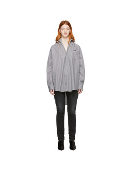 White & Grey Stripe Small Collar Shirt by Vetements