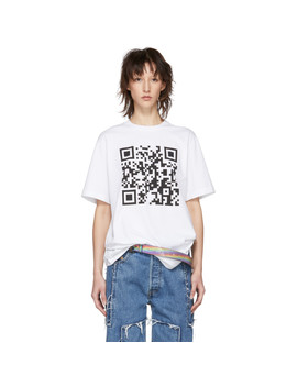 White Qr Code T Shirt by Vetements