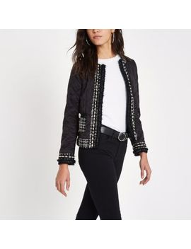Black Pear Trim Quilted Trophy Jacket by River Island