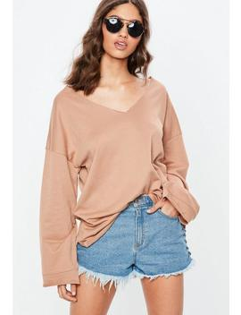 Nude V Neck Raw Edge Sweatshirt by Missguided