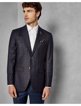 Wool Checked Suit Jacket by Ted Baker