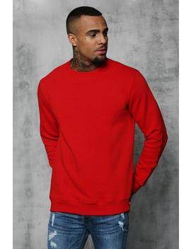 Basic Crew Neck Fleece Sweatshirt by Boohoo