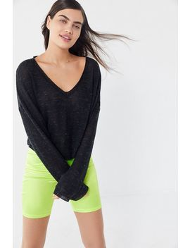 Out From Under Jade Slouchy Thermal V Neck Top by Out From Under