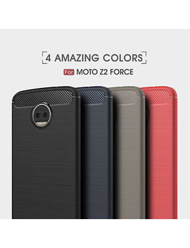 For Motorola Moto Z2 Force Shockproof Armor Carbon Fiber Hybrid Brush Case Cover by Dooqi
