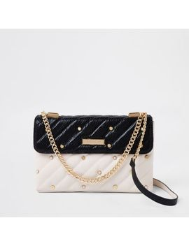 White Contrast Pearl Quilted Cross Body Bag by River Island