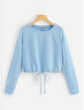 Drawstring Hem Solid Sweatshirt by Shein