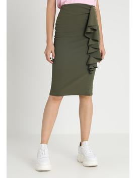 Drape Detail Pencil   Pencil Skirt by Lost Ink