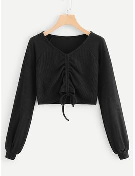 Drawstring Hem Solid Sweatshirt by Sheinside