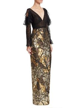 Cold Shoulder Floral Sequin Gown by Marchesa Notte