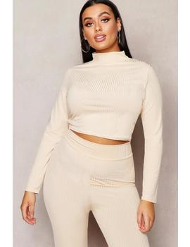 Jumbo Rib High Neck Long Sleeve Crop Top by Boohoo