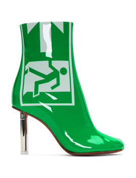 Green Patent 'exit' Lighter Boots by Vetements