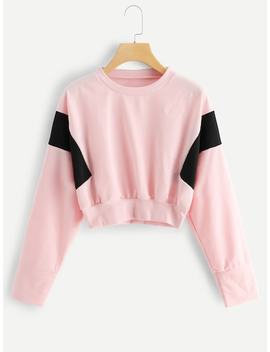 Drop Shoulder Colorblock Sweatshirt by Sheinside