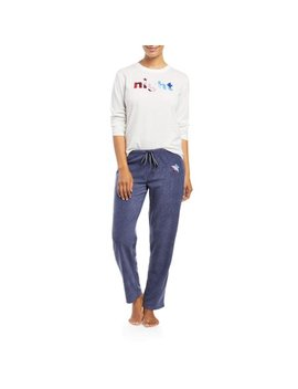 Ev1 From Ellen De Generes Women's Star Snowflake 2 Piece Pajama Set (White) by Ev1 From Ellen De Generes