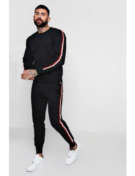 Sweater Tracksuit With Tape Detail by Boohoo