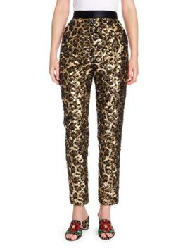 Sequin Leopard Print Ankle Pants by Dolce & Gabbana