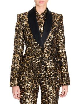 Leopard Print Sequin Shawl Collar Jacket by Dolce & Gabbana