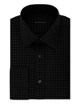 Men's Classic/Regular Fit Check French Cuff Dress Shirt by Sean John