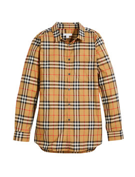 Fred Long Sleeve Check Shirt, Size 4 14 by Burberry