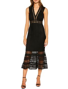 Petra Lace Tea Length Dress by Bardot