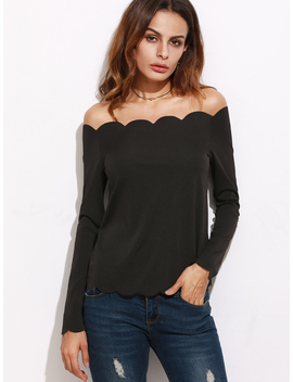 Black Off The Shoulder Scallop Top by Romwe