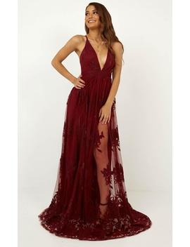 Promenade Maxi Dress In Wine by Showpo Fashion