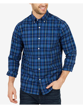 Men's Big & Tall Classic Fit Plaid Long Sleeve Shirt by Nautica