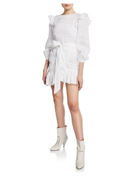 Telicia Ruffle Accent Linen Mini Dress by Etoile Isabel Marant
