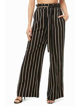 Belted Striped Palazzo Pants by Forever 21