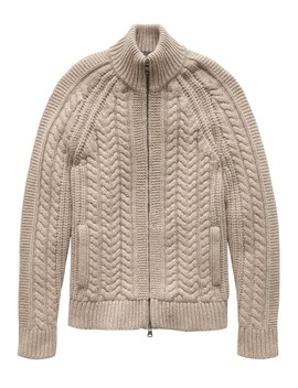 Cashmere Cable Knit Sweater Jacket by Banana Repbulic