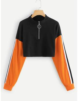 Striped Tape Sleeve Colorblock Sweatshirt by Sheinside