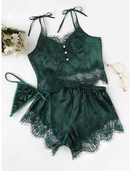 Lace Trim Satin Cami Top & Shorts & Thong 3pack by Sheinside