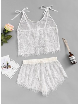 Eyelash Lace Cami Top With Panty by Sheinside