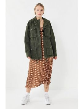 Uo Canvas Hooded Zip Front Surplus Jacket by Urban Outfitters