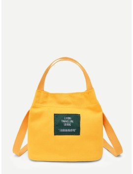 Letter Print Canvas Handbag by Sheinside